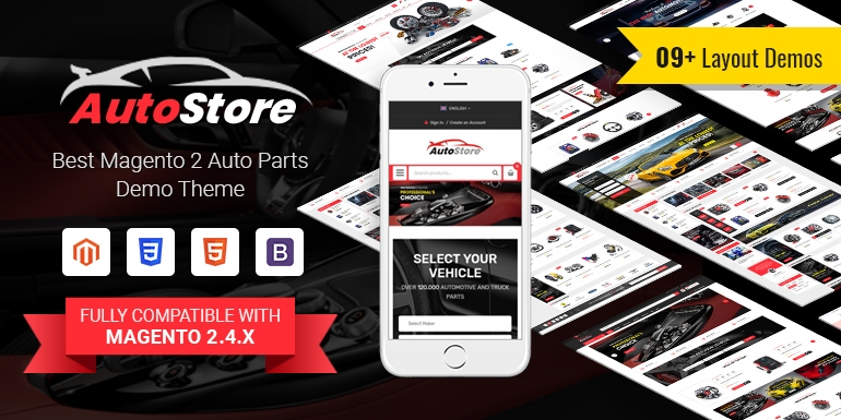 AutoStore - Auto Parts and Equipment Magento 2 Theme with Attributes Search Module